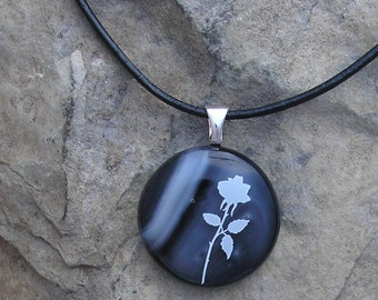 Rose Pendant  Fused Glass Black Rose Necklace