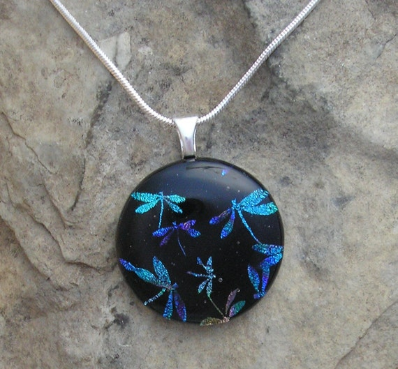 Dragonfly Necklace Fused Dichroic Glass Dragonfly Pendant