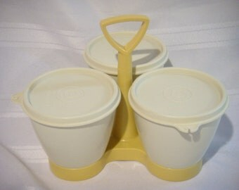Tupperware 3 Section Condiment Server with Lids, Condiment Caddy in Cream and Harvest Gold, Table or Buffet Serving Pieces
