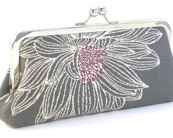 Gray Clutch Evening Bag  - Grey White Bridesmaid Flower Purse -  Handmade Metal Frame Handbag