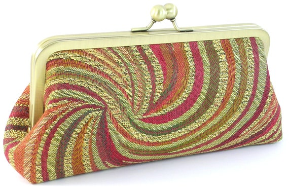 Clutch Purse - Women's Evening Bag - Red Gold Handmade