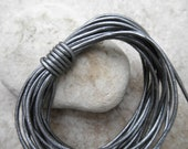 Round Leather Cord Round - 1mm - Metallic Silver - By the Yard