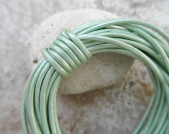 Sold by the Yard - 1.5mm - Round Leather Cord - Metallic Oasis Turquoise