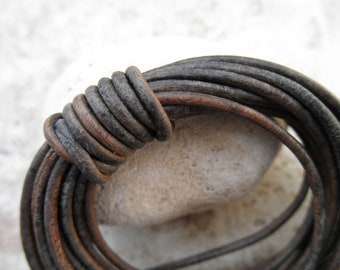 Round Leather Cord - 2mm -Natural Dye Grey - By the Yard