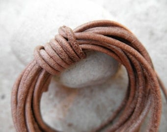 Leather Cord Round - 2mm - Natural Color - By the Yard