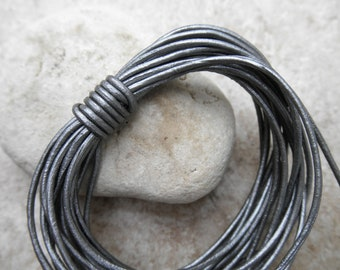 Leather Cord Round - 1.5mm - Metallic Silver - By the Yard