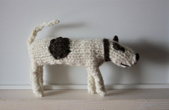 Hand knitted patch dog made to order