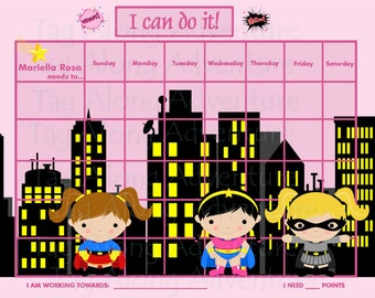Custom Children's Incentive Chart  - Girl Super Hero - Printable