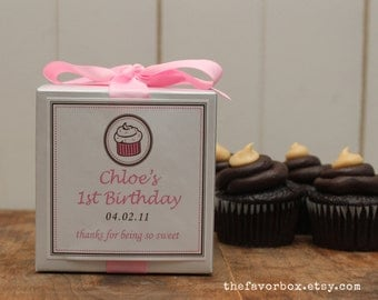 8 - Personalized Cupcake Boxes - Cupcake Design - ANY COLOR - bachelorette party favors, wedding favors, baby shower favors