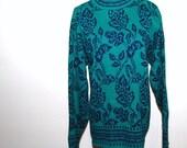 Vintage Sweater Retro Wild Vines on Teal