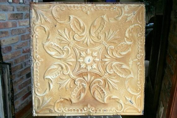 """Genuine Antique Ceiling Tile -- 24"""" x 24"""" -- Beautiful Butterscotch Colored Paint"""