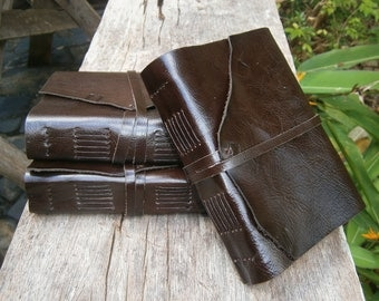 "One handsome dark leather journal,  5X7"", Rustic , LINED or plain paper"