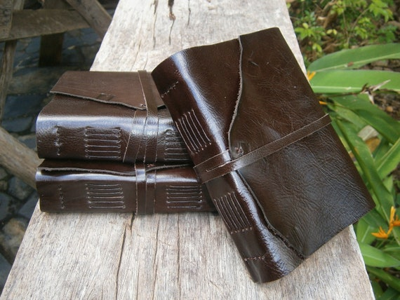 """Set of 3x Leather Journals, Groomsman's,  5X7"""", Rustic, Free Initials, lined"""