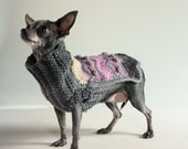 Chevrons and Bobbles Oh My, XXS Chihuahua Sweater, Chic Steel Gray.Pink, Yellow