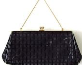 Vintage 50s purse handbag clutch clear plastic vinyl mesh gold chain
