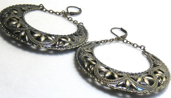 Antiqued Brass Gypsy Boho Filigree Crescent Earrings