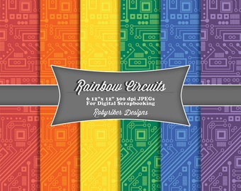INSTANT DOWNLOAD: Rainbow Circuit Board Robot Digital Scrapbook Paper 6 Pack