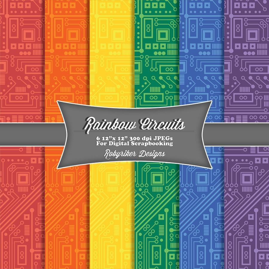 Scrapbook ideas rainbow - Instant Download Rainbow Circuit Board Robot Digital Scrapbook Paper 6 Pack