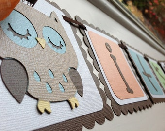 "TREETOP OWL ""it's a boy"" Baby Shower Banner Made to Order"