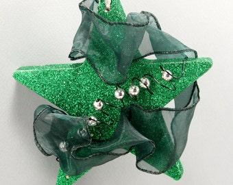 Green Star Ornament, Glitter Ornament, Star Tree Ornament, Christmas Ornament, Green Silver Ornament, Christmas Tree Decor, Holiday Decor