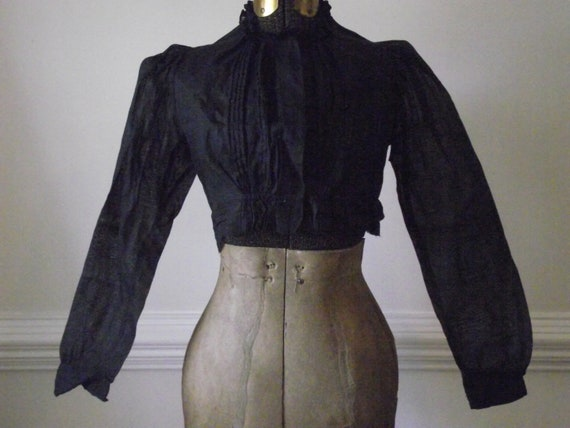 Antique Victorian Blouse / 1800s Womens Black Clothing