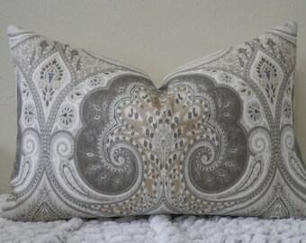 Kravet Latika Ikat/Paisley Print in Limestone - Lumbar Sizes - Grey, Beige and White Decorative Designer Pillow Cover