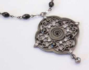 Black and Crystal Beaded Gothic Style Necklace