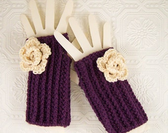 Crocheted Fingerless Gloves with flower - Fingerless Mittens - mulberry - handmade  Winter Fashion by Sandy Coastal Designs made to order