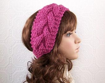 Hand knit headband headwrap ear warmer - rose or color choice - winter accessories Winter Fashion  Sandy Coastal Designs