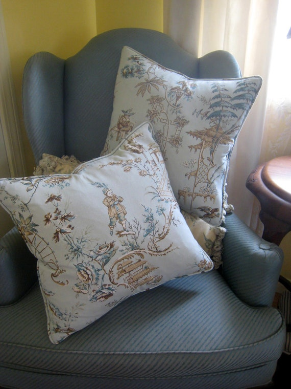 Pair of Upcycled Vintage Cotton Toile  Pillow Covers