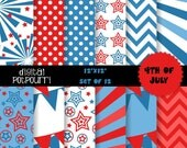 digital paper pack for scrapbooking, card making, printing - 4th of july