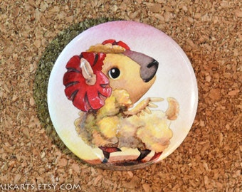 Chibi Watercolor Aries Astrology Pin-back Button or Magnet