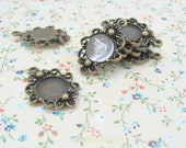 Antique Bronze Tiny Vintage Charm Earring Round Base Blank Pad Fits for 12mm Cabochon - 2 pcs (S128)
