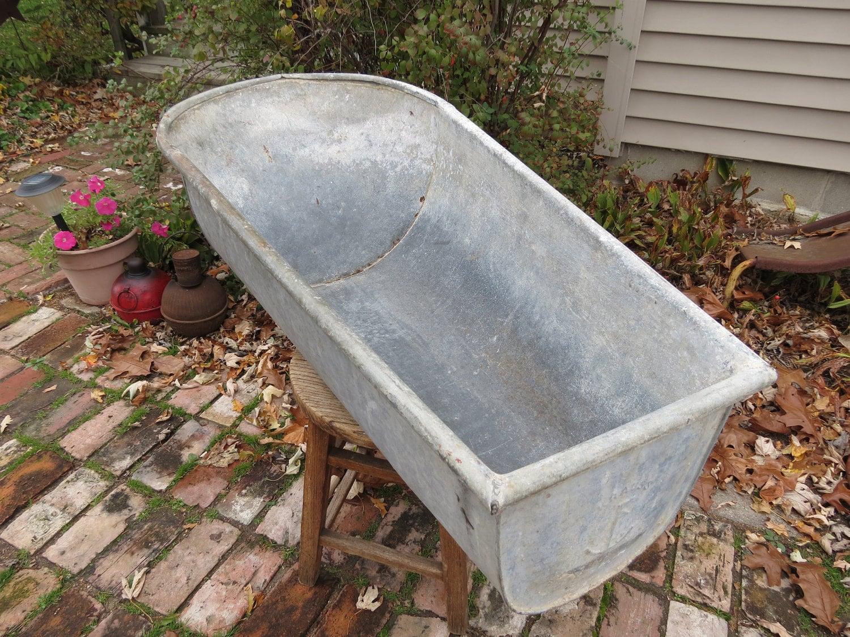vintage krauss galvanized childs bathtub reserved for edna. Black Bedroom Furniture Sets. Home Design Ideas