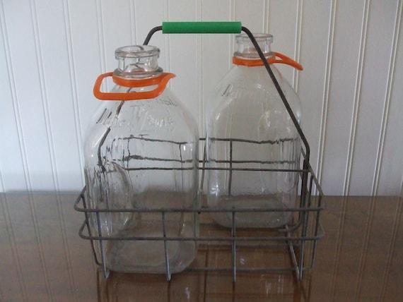 "Vintage Metal Milk Carrier with 2 Glass Milk Bottles-""Dairy Lane"""