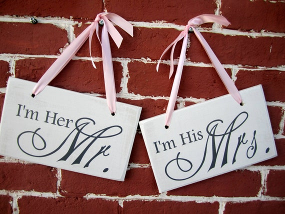 "6"" x 10"" Wooden Wedding Sign: 2pc Set Single or Double sided - Mr.  Mrs. and I do  Me too"