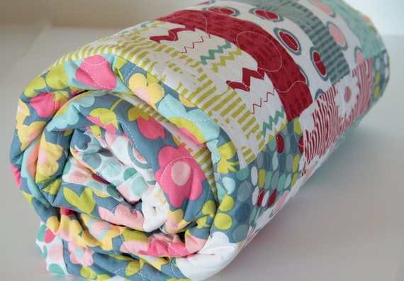 Modern Toddler Bed Quilt, Handmade Baby Blanket, Throw Quilt for Girl, Red, Grey, Pink, Yellow, Aqua and Green