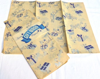 Vintage Wrapping Paper - Silver and Navy Blue Birthday Wrap - Boxes with Ribbons - 2 Unused Packages Gift Wrap for Hanukkah