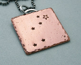 Constellation Necklace - Lyra - Hand Stamped Copper and Sterling Silver