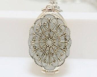 Pearl White Locket, Silver Locket,jewelry gift,Oval Resin Locket,filigree locket necklace,photo locket,Wedding Necklace,bridesmaid necklace
