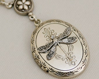 Silver Dragonfly Locket,Jewelry Gift,Silver Locket,Locket,Silver Dragonfly Locket,Silver Chain,Locket Necklace,Wedding Necklace