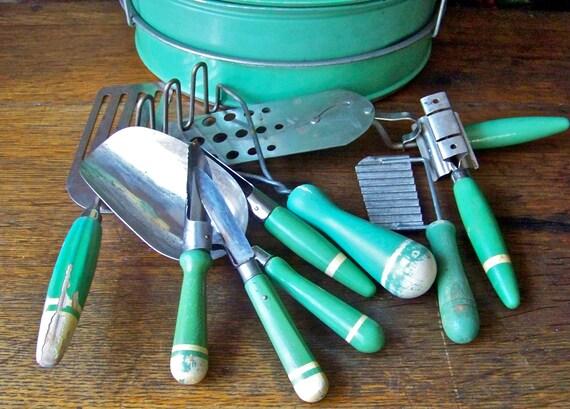 Vintage Kitchen Utensils Green Wood Handles