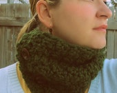 Reserved for Sarah Sale Chunky Forest Green Olive Green Neckwarmer Chunky Scarf Ready To Ship