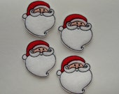 SANTA - (4) Machine Embroidered Embellishments / Appliques - Two sizes available - Ready to ship