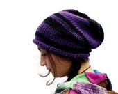 Knitted Wool Slouchy Hat - Purple - Black - Stripes