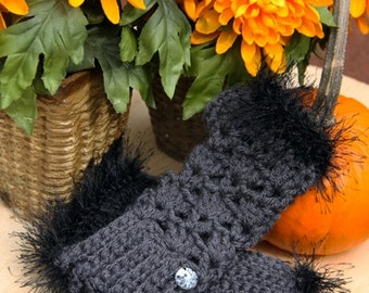Fingerless Gloves in Grey W/ Black Fur and Vintage Buttons
