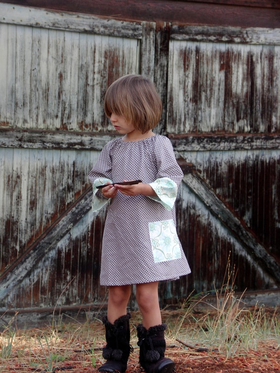 RESERVED LISTING FoR KaTe Snowy Sky French Gray Fandango Peasant LONGSLEEVE Tunic Girls Dress
