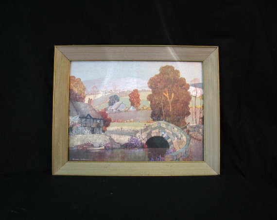 Vintage Ernest Uden Foil Art Landscape
