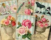 SECRET GARDEN Digital Collage Sheet Instant Download Vintage Botanical for Scrapbooking Gift Tags Journal Cards Jewelry GalleryCat CS205
