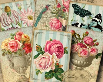 SECRET GARDEN Digital Collage Sheet Instant Download Vintage Botanical for Scrapbooking Gift Tags Journal Cards Jewelry GalleryCat CS205